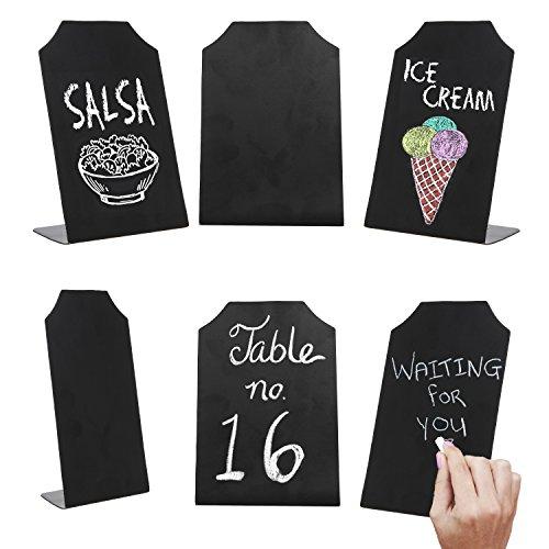MyGift - Set di 3 cartelli da tavolo per appunti, segnaposto per eventi moderno Set da 6 Nero