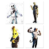Battle Royale Poster Wall Art - Set of 4 Unframed (8x10 inches) Video Game Decor - Banana, Marshmellow, Meowscles, Gold - Gaming Posters for Boys Bedroom - Fort - Set 6