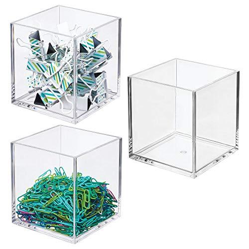 mDesign - Contenedor organizador de plástico cuadrado para armarios, cajones, escritorios, espacio de trabajo, para bolígrafos, lápices, subrayadores, cuadernos de 4 pulgadas, 3...