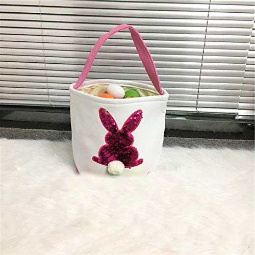 Easter Bunny Basket Jute Bunny Tail Bucket Happy Easter Party Decoration Basket Child Toy Gift Egg Tote Bag