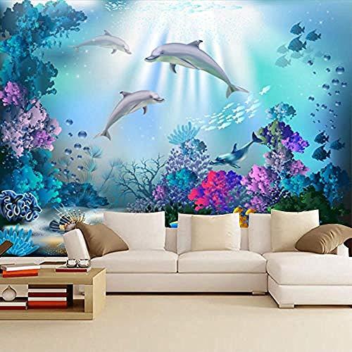 3D-Hintergründe für Schlafzimmer Große Unterwasserwelt Thema Hotel Ocean Dolphin Hintergrundwand Mütter- und Kinder Wanddekoration fototapete 3d Tapete effekt Vlies wandbild Schlafzimmer-300cm×210cm