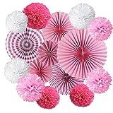 JAHEMU Pompones de Papel Abanicos de Papel Bola de Papel Paper Pompoms Flowers Decorados para Boda Cumpleaños Navidad Fiestas 15 piezas (Rosa)