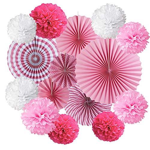 JAHEMU Seidenpapier Pompons Blumen Papier Fans Fächer Dekorpapier für Geburtstag Hochzeit Baby Dusche Weihnachten Parteien Dekoration 15 Stück (Rosa)
