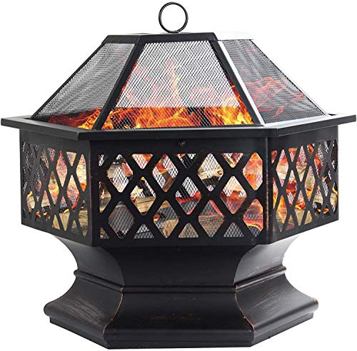 ZWWZ Metal Fire Pits For Garden - Large Bonfire Wood Burning Patio & Outdoor Fireplaces Backyard Firepit For Outside With Spark Screen And Round Fireplace Cover.