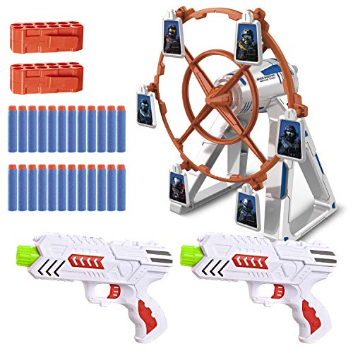 JOYIN Revolution Shooting Game Target Set with a Rotating Target Wheel, Include 2 Foam Darts Toy Guns and Convenient Clips, 24 Foam Darts for Kids Indoor Play
