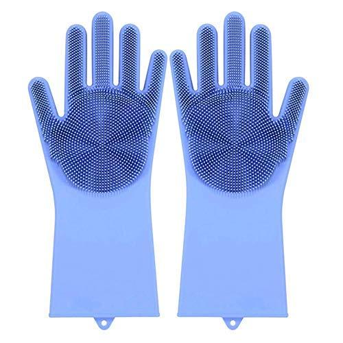 Huai1988 Guantes de Cocina de Silicona para Lavar Platos, Guantes de Limpieza de Silicona para Lavar los Platos, Guantes de Limpieza con Estropajo para Cocina Cuidado del Cabello de Mascotas Azul