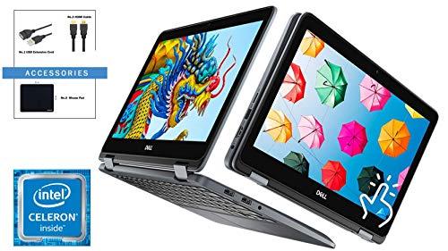 "Dell 2-in-1 Convertible 11.6"" HD IPS Touch-Screen Chromebook, Intel Celeron N3450 Processor, 4GB Memory, 32GB eMMC, Wireless-AC, Bluetooth 4.1, Webcam, Media Reader, Chrome OS, Grey, Accessory Bundle"