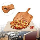 VINGO Pizzastein aus Hochwertigem Cordierit mit Pizzaschaufel, Brotbackbackstein für Backofen und Gasgrill, 30 x 38 x 1,5 cm