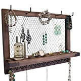 Outshine Large Farmhouse Wall Jewelry Organizer and Wall Decor (Espresso/Black) | Vintage Wall Organizer For Earrings, Necklaces, Bracelets, Hair Accessories | Diamond Shape Chicken Wire Earring Holder | Perfect Gift For Women, Wife, Mom, Girlfriend