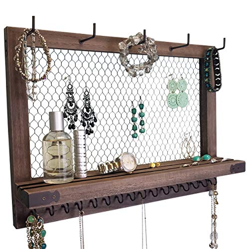 Outshine Large Farmhouse Wall Jewelry Organizer (Espresso) | Wall Organizer For Earrings, Necklace, Bracelet, Hair Accessories | Chicken Wire Earring Holder | For Women, Wife, Mom, Girlfriend