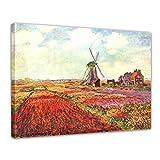 Wandbild Claude Monet Tulpen von Holland - 70x50cm quer - Alte Meister Berühmte Gemälde Leinwandbild Kunstdruck Bild auf Leinwand