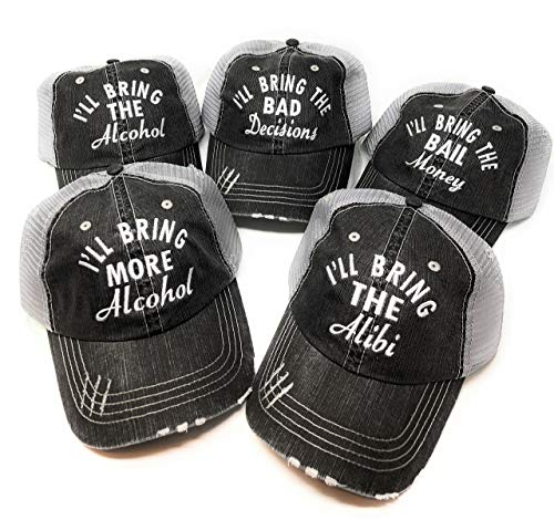 Mary's Monograms Set of 5 I'll Bring The Party Hats Distressed Trucker Hats Black -Cursive