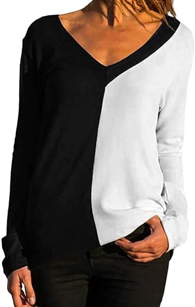Blusa de Manga Larga Cruzado Color Liso con Cuello en V para ...