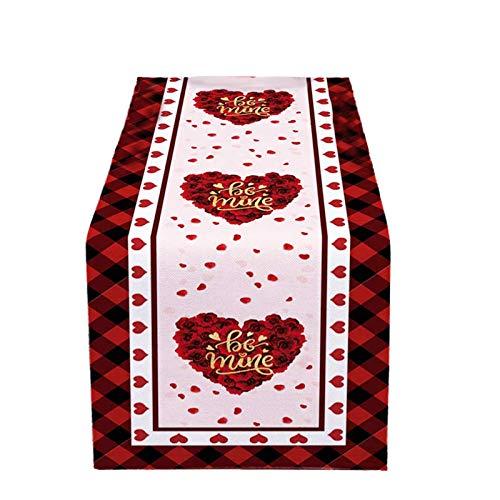 YANFANG Mantel Camino De Mesa De Encaje De Corazón San Valentín Camino De Mesa con Patrón De Corazón Rojo Camino De Mesa Bordado De Rojo Camino de Mesa Corredor de Mesa