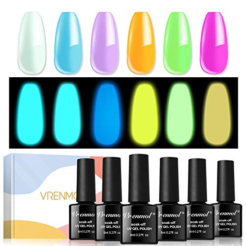 Vrenmol Glow in the Dark Gel Nail Polish Neon Shellac Nail Gel polish Soak Off UV Glow Effect Nail Polish Fluorescent Bright Colors Lacquer Nail Art - 6 PCS 8 ML