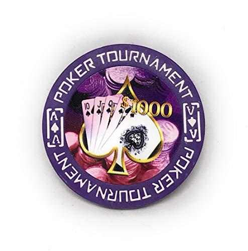 Fichas de póquer Tournament de alta calidad, 40 mm, 3 mm, 11,5 gramos, 100 unidades, color lila
