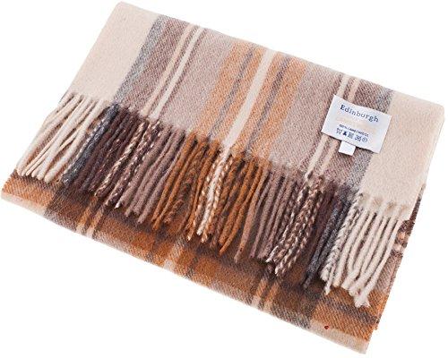 I Luv Ltd Unisex Lambswool Scarf In Stewart Natural Dress Tartan Design 30cm Wide