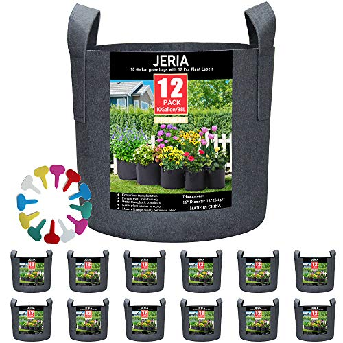 JERIA 12-Pack 10 Gallon, Vegetable/Flower/Plant Grow Bags, Aeration Fabric Pots with Handles (Black), Come with 12 Pcs Plant Labels