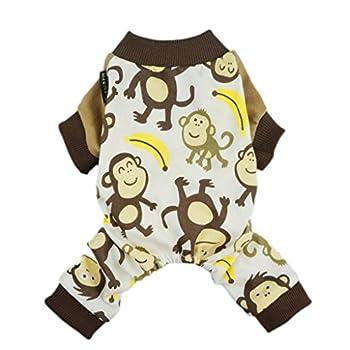 Fitwarm Soft Cotton Adorable Monkey Dog Pajamas Shirt Pet Clothes Brown XXL
