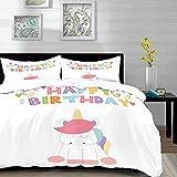 ropa de cama - Juego de funda nórdica, fiesta de unicornio, letras festivas de feliz cumpleaños con Doodle simplista Animal de cuento de hadas, Multico, juego de funda nórdica de microfibra con 2 fund