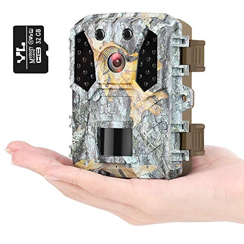 "KUFA Mini Trail Camera 16MP 1080P, Free 32GB SD Card, Hunting Camera w Infrared Sensors 120° No Glow IR Night Vision Motion Activated, 2"" LCD, IP65 Waterproof"