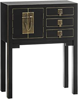 Consola con 3 cajones Oriental Negra de Madera DM de 80x26x63 cm - LOLAhome