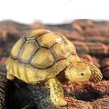 SunniMix Resina Tortuga Geochelone Sulcata Realista Simulado Reptil Esculpida La Decoración - 3