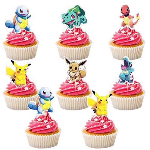 BESTZY Tortendeko Geburtstag 120PCS Pokémon Cake Topper Geburtstags Party Pokémon Pikachu Cupcake Figuren Kuchen Dekoration Lieferunge für Kinder Geburtstag Baby Mädchen Junge,B