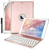 Boriyuan iPad 9.7 2018/2017 キーボードカバー 7色のバックライト搭載 オートストップ機能付き 一体型 ワイヤレスBluetoothキーボード アルミ合金製 iPad 9.7 ケース 2018/2017/iPad Air 対応