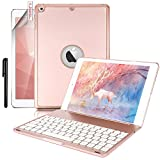 New iPad 9.7 Keyboard Case,Boriyuan Protective Folio Utra Slim Hard Shell Light Weight Stand Smart Cover with Backlit Bluetooth Keyboard and Auto Sleep/Wake for iPad 9.7 2017 2018 Tablet (Rose Gold)
