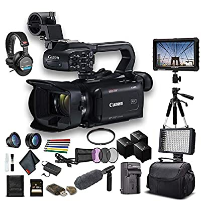 Canon XA40 Professional UHD 4K Camcorder (3666C002) W/ 2 Extra Battery, Soft Padded Bag, 64GB Memory Card, Filter Kit, LED Light, Sony Headphones, 4K Monitor, Sony Mic and More Advanced W/Mic Bundle by Canon