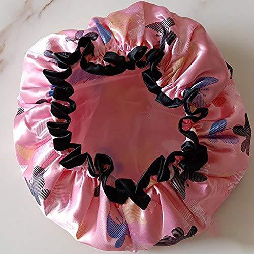 VIVIANE Mignon Double Couche Bonnet De Douche Imperméable Adulte Femme Femelle Bonnet De Bain Cheveux Longs Bonnet De Douche Cuisine Chapeau Anti-fumée (Color : Pink Butterfly)