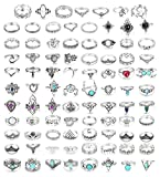 YADOCA 84 Piezas por Juego de Anillos de aleación diseñado para Chicas la Moda Hermoso Zafiro Talla Hueca