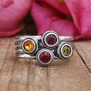 Stacking Sterling Silver Birthstone Ring by Nelle and Lizzy