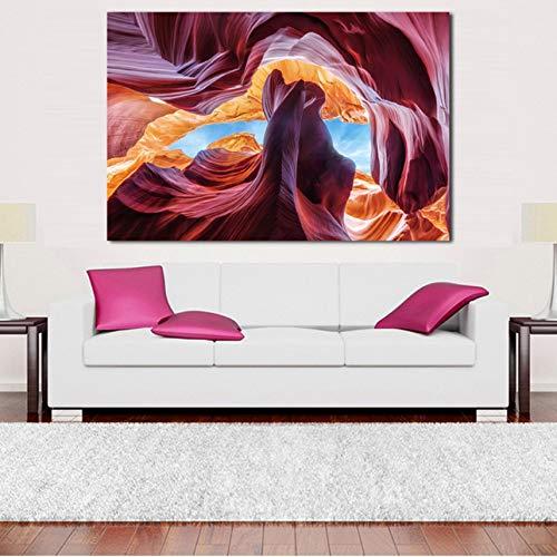 Color de gran tamaño Antelope Canyon pintura al óleo Moder decoración para el hogar foto de la pared imágenes para sala de estar sin marco