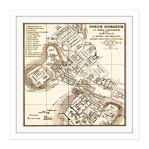 Map Antique Kiepert 1903 Forum Rome Ancient Replica Square W