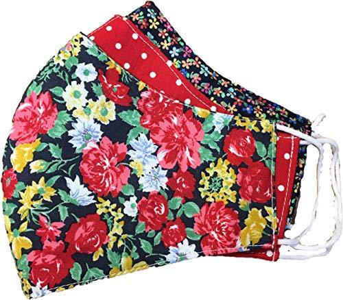 Pezzo D'oro 3 er Set Fashion Masken,bunt-rot gemustert,rote mit Tupfen,marie mit kleinem Blümchen,