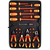 VonHaus VDE Screwdrivers and Pliers <span class='highlight'>Hand</span> Tool Set 15 Pcs – Insulated <span class='highlight'>Hand</span>les, for Safe <span class='highlight'>Electrical</span> Work, Computer, Automotive Repairs, 1000V VDE Tested - Includes Voltage Tester & Tape