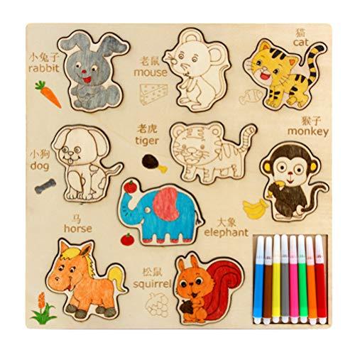 PRETYZOOM 1 Set Kit de Libro de Plantillas para Niños Manualidades Dibujo de Animales Plantillas para Colorear Juguetes para Niños Niños Bebés