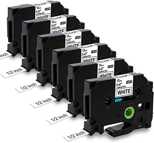 MarkField Ruban Compatible pour Cassette Brother P-Touch TZ TZe-231 0,47 12mm x 8m Etiqueteuse PT-H100 H105 H101C/GB H100LB/R 1080 1000 1005 D200 D400 1010 3600 E100 , Noir sur Blanc, 6 Pack