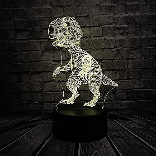 3D Diashow Leuke dinosaurus 3D illusie lamp dier LED nachtlicht slaapkamer decoratie 7 kleurverandering E - wekker basis 7 kleuren/D - afstandsbediening 7 ColorCrack White