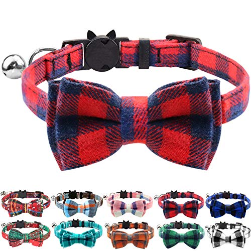 Plaid Pattern Bow Tie Cat Collar with Bell