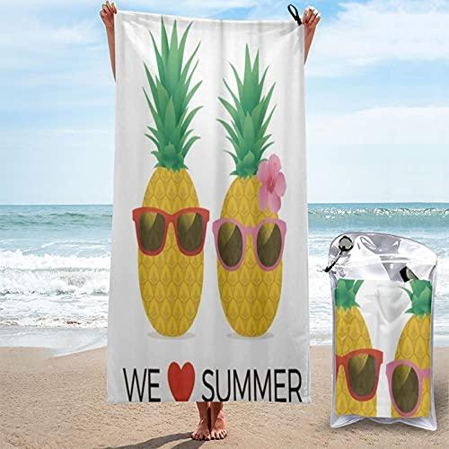 MOBEITI Toalla de baño de Microfibra Ultra Absorbente,We Love Summer Pineapple,De Gran tamaño de Secado rápido para Surf en la Playa Natación Hotel SPA Yoga