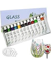 Magicdo 12 colores pinturas de vidrio con paleta, pintura no tóxica de calidad profesional para vidrio, juego de pintura de vidrio satinado de múltiples superficies, pigmento rico (12 x 12 ml)