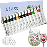 Magicdo Stained Glass Paint with Palette,Transparent Glass Window Paint Acrylic Paint Set Great for Wine Bottle, Light Bulbs, Ceramic (12 Colorsx0.4 Fl oz)