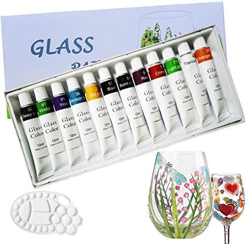 12 Farben Glasfarben mit Palette, professionelle Glasfarbe Set, hochwertige ungiftige Acrylfarbe für Glas, Multi-Surface Satin Glas Craft Paint Set, reiches Pigment (12 x 12ML)