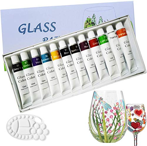 Magicdo 12 colores pinturas de vidrio con paleta, pintura no tóxica de...
