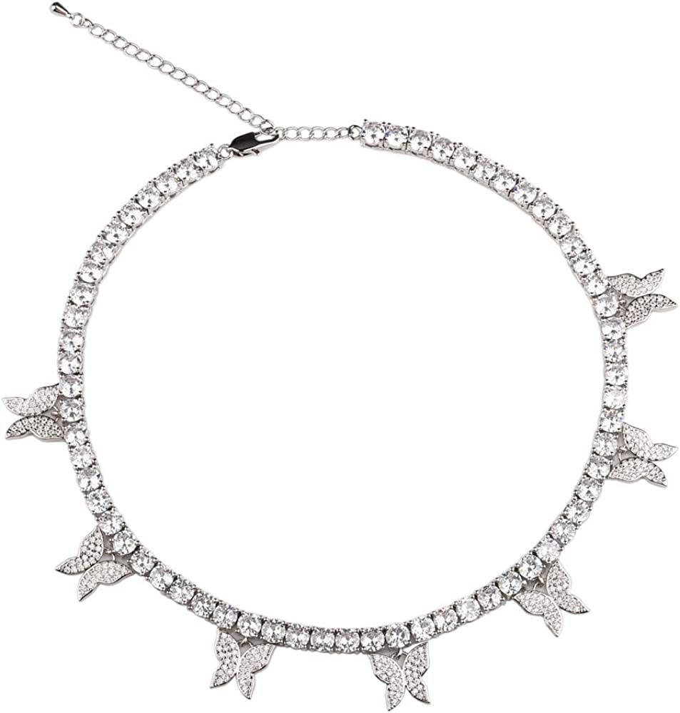 Platinum Plated CZ Iced Butterfly Choker Necklace 5mm Cubic Zirconia Tennis Chain Gift for Mother's Day with 7 Bling Charms