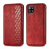 Trugox Handyhülle für Samsung Galaxy A42 5G Hülle Leder Klapphülle mit Kartenfach Ständer Flip Hülle für Galaxy A42 - TRSDA120430 Rot
