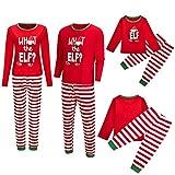 riou Navidad Familia Pijamas de Vacaciones Letra Impresa Top + Pantalones Raya Ropa de Dormir...